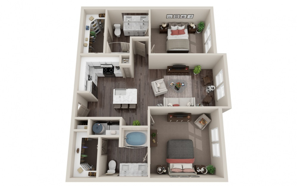 B1.2 - 2 bedroom floorplan layout with 2 baths and 1042 square feet.